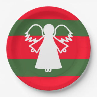 White Angel Wings Red Dark Green Stripes Holiday 9 Inch Paper Plate
