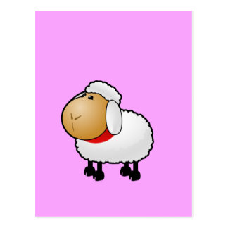 White animated sheep postcard