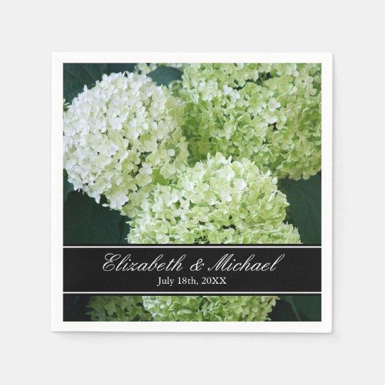 White Annabelle Hydrangeas Wedding Personalised Paper Serviettes