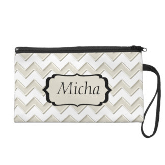 White & Antique White Glossy Chevron Monogram Wristlet