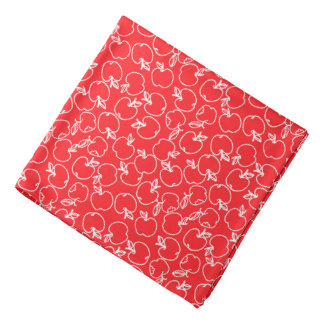 White Apple Pattern on Red Bandana