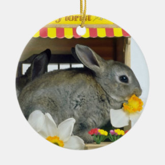 white Apricot and Blue Rex rabbits flowers Christmas Ornament