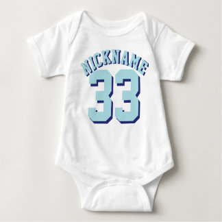 White & Aqua Baby   Sports Jersey Design Baby Bodysuit