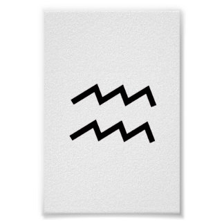 White Aquarius 2 Zodiac January 20 - February 18 Poster