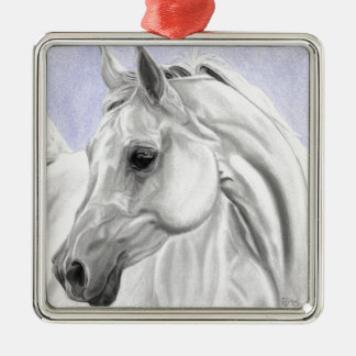 White Arabian Horse Original Art Christmas Ornament