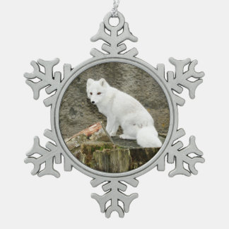 White arctic fox christmas ornament