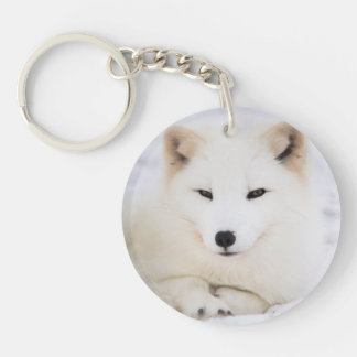 White arctic fox Double-Sided round acrylic key ring