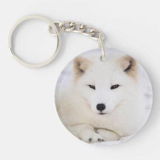 White arctic fox key ring