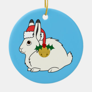 White Arctic Hare with Santa Hat & Gold Bell Christmas Ornament