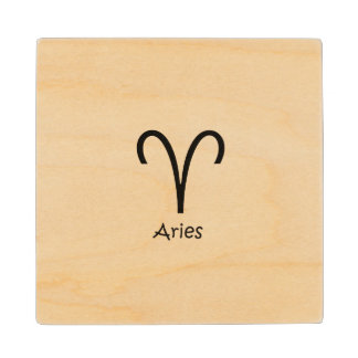 White Aries Zodiac March 21 - April 19 Astrology Wood Coaster