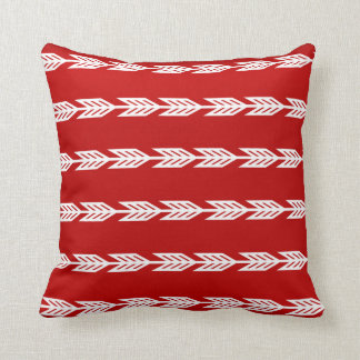 White Arrows on a Red Background Cushion