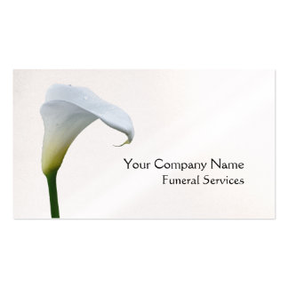 White arum lily funeral business card