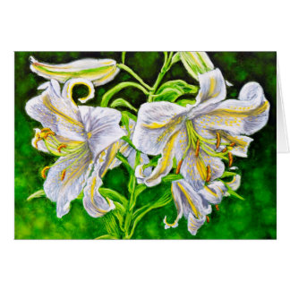 White Asiatic Lilies Card