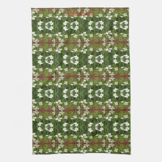 White Asiatic Lily Red Bee Balm kitchen towel