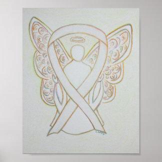 White Awareness Ribbon Angel Poster Art Print