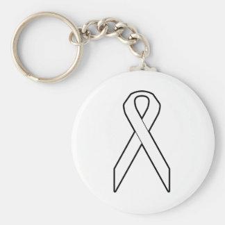 White Awareness Ribbon Key Ring