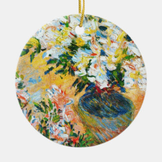 White Azaleas in a Pot, 1885 Claude Monet Double-Sided Ceramic Round Christmas Ornament