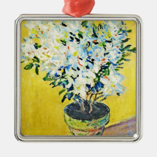 White Azaleas in a Pot Claude Monet Christmas Tree Ornaments