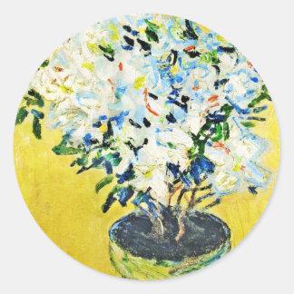White Azaleas in a Pot Claude Monet Sticker