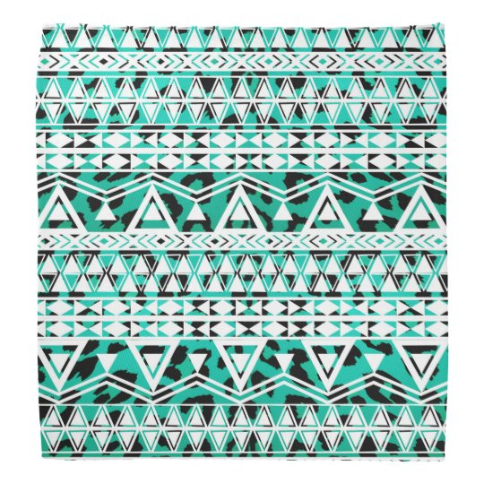 White Aztec on Black and Teal Cheetah Do-rag