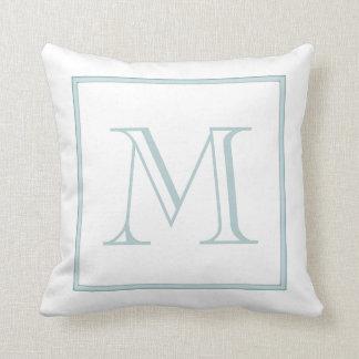 White Baby Blue Monogram Throw Pillow