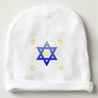 WHITE BABY CAP BLUE & YELLOW JEWISH STARS TRENDING BABY BEANIE