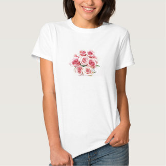 White Baby-doll Tee w/ Pink Roses