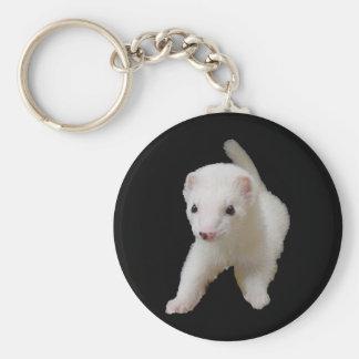 White Baby Ferret Key Ring