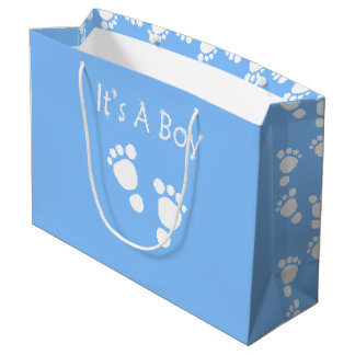 White baby foot - It's a boy baby-shower gift bag