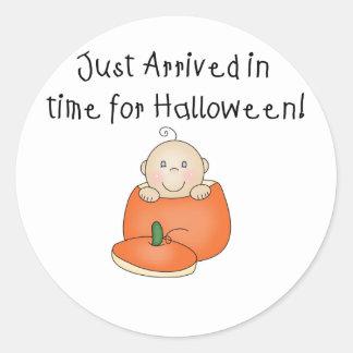White Baby Halloween Just Arrived Round Sticker
