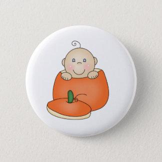 White Baby in Pumpkin 6 Cm Round Badge