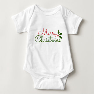 WHITE BABY JERSEY BODYSUIT : CHRISTMAS