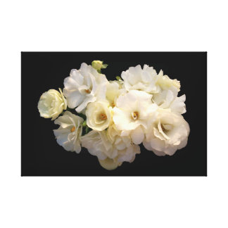 White baby roses stretched canvas prints