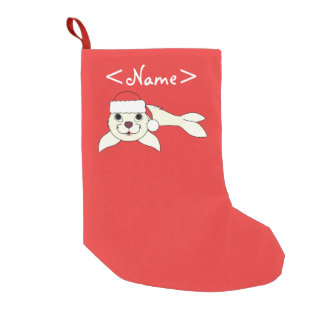 White Baby Seal with Christmas Red Santa Hat Small Christmas Stocking
