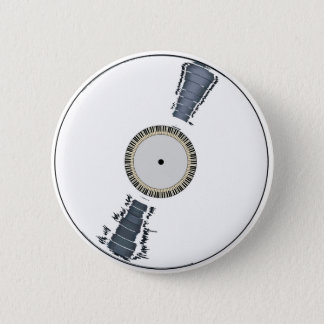 White Background Record 6 Cm Round Badge