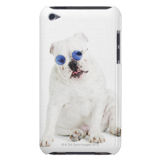 white background, white bulldog, blue tinted iPod touch Case-Mate case