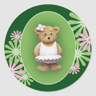 White Ballet Dancer Teddy Bear Classic Round Sticker