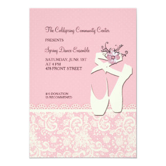 White Ballet Shoes Invitation