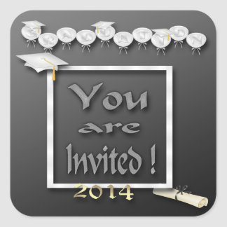 White Balloons Graduation Party Envelope Seal Square Sticker