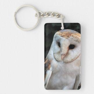 White Barn Owl Key Ring