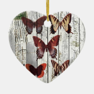 white barn wood french shabby chic butterfly ceramic heart decoration