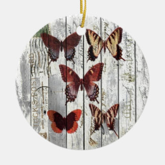 white barn wood french shabby chic butterfly round ceramic decoration