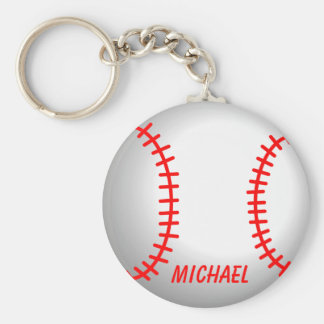 White Baseball Red Stitching Key Ring