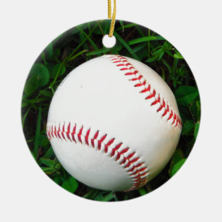 White Baseball with Red Stitching Christmas Ornament