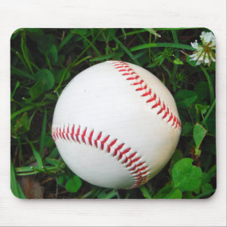 White Baseball with Red Stitching Mousepads