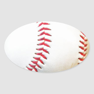 White Baseball with Red Stitching Oval Sticker