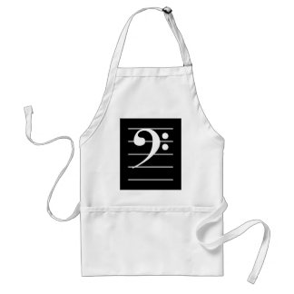 White Bass Clef on Staff Standard Apron