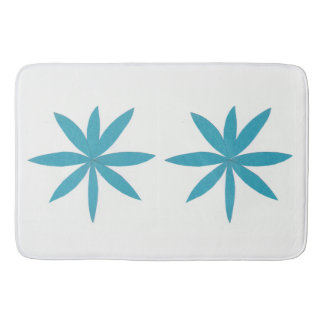 White Bath Mat with Dual Turquoise Stars