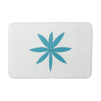 White Bath Mat with Turquoise Star