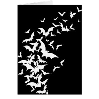 White Bats on Black Card